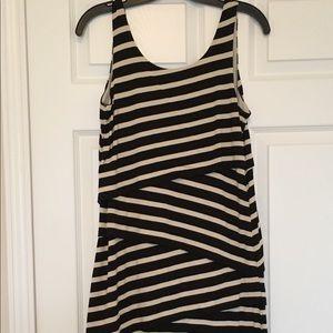 Loft Black and Cream striped dress
